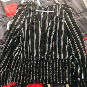 American Eagle Black & White Striped Blouse